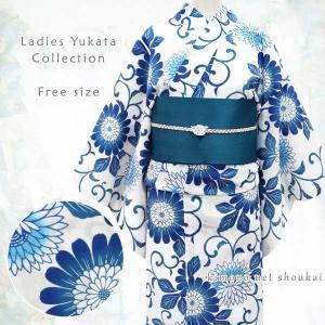 女性浴衣 フリーサイズ【白×ブルー /モダン菊×唐草 15059】モダン可愛い 単品 ゆかた レディース お仕立上がり kimono-japan