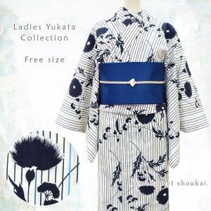 女性 浴衣 フリーサイズ【生成り×紺 縞にアザミ 15059】 古典柄 レトロ モダン 単品 ゆかた レディース お仕立上がり|kimono-japan