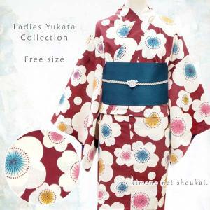 女性浴衣 フリーサイズ(赤 えんじ×生成り モダン梅桜 15059)単品 レトロ モダン ゆかた レディース お仕立上がり|kimono-japan