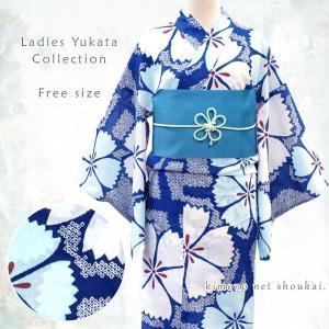 女性浴衣 フリーサイズ【紺×白・水色/鹿の子撫子 ナデシコ 15059】モダン可愛い 単品 ゆかた レディース お仕立上がり|kimono-japan