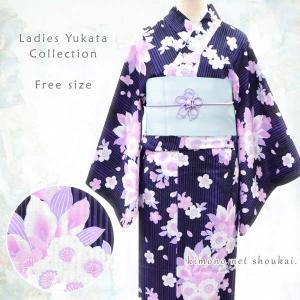 女性 浴衣 フリーサイズ【紫黒縞 淡いピンクの八重桜 水芭蕉 15059】 古典柄 レトロ モダン 単品 ゆかた レディース お仕立上がり|kimono-japan
