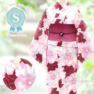 レディース 浴衣(Sサイズ/ベージュ×ピンク えんじ 芙蓉花 15347)レトロモダン 浴衣 単品 プチサイズ 小さいサイズ ゆかた|kimono-japan