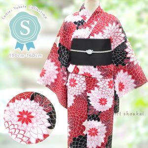 レディース 浴衣(Sサイズ/赤×白黒 菊尽し 15347)レトロモダン 浴衣 単品 プチサイズ 小さいサイズ ゆかた|kimono-japan