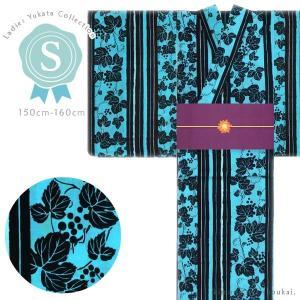 プチサイズ浴衣【Sサイズ/生成り ミントグリーン×ブルー市松・椿  15347】女性浴衣 単品 ゆかた スモール 小さい|kimono-japan