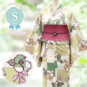 プチサイズ浴衣【Sサイズ/生成り カーキベージュ×グリーン市松・椿  15347】女性浴衣 単品 ゆかた スモール 小さい|kimono-japan