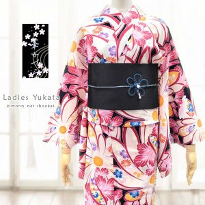 女性浴衣【華かづら/黒×えんじ系 大きな菊に古典華 15357】フリーサイズ 単品 ゆかた レディース お仕立上がり レトロモダン|kimono-japan