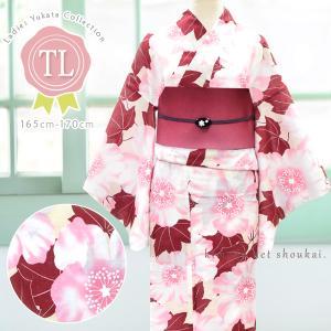 レディース 浴衣(TLサイズ/ベージュ×ピンク えんじ 芙蓉花 15348)レトロモダン 浴衣 単品 トールサイズ 背の高い 高身長 ゆかた|kimono-japan