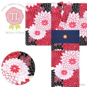 レディース 浴衣(TLサイズ/赤×白黒 菊尽し 15348)レトロモダン 浴衣 単品 トールサイズ 背の高い 高身長 ゆかた|kimono-japan