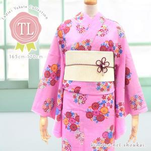 レディース 浴衣(TLサイズ/ピンク地 古典花々丸文 14706)レトロモダン 浴衣 単品 トールサイズ 背の高い 高身長 ゆかた|kimono-japan