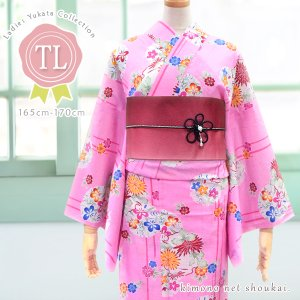 トールサイズ浴衣 綿【ピンク地 古典花々雪輪文/TLサイズ】14706 女性浴衣 単品 ゆかた レディース お仕立て上がり 大きい 大柄|kimono-japan