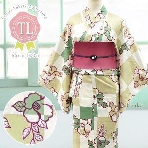 レディース 浴衣(TLサイズ/カーキベージュ×グリーン 市松 椿 15348)レトロモダン 浴衣 単品 トールサイズ 背の高い 高身長 ゆかた|kimono-japan