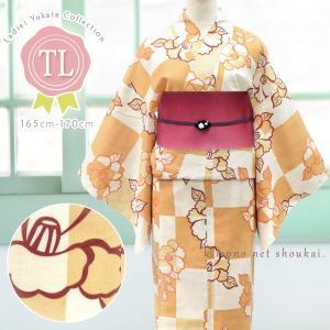 レディース 浴衣(TLサイズ/オレンジ×生成り 市松 モダン椿 15348)レトロモダン 浴衣 単品 トールサイズ 背の高い 高身長 ゆかた|kimono-japan