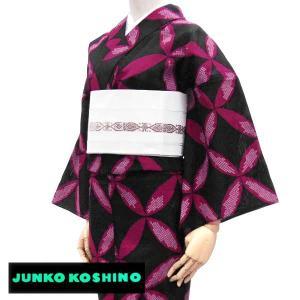 ブランド 浴衣【JUNKO KOSHINO/コシノジュンコ 黒×赤紅 七宝つなぎ】横絽 ブランド レディース レトロモダン ゆかた お仕立て上がり|kimono-japan