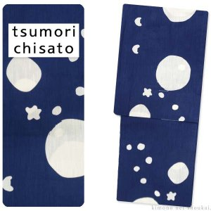 ツモリチサト ブランド 浴衣【tsumori chisato 注染 濃紺 ネイビー 水玉 ネコ 星 15637】日本製 ゆかた 猫 お仕立て上がり浴衣|kimono-japan