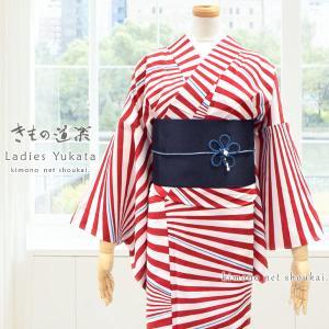 ブランド 浴衣【ななめ縞 赤 きもの道楽 14399】日本製 東レ セオアルファ ゆかた ポリエステル|kimono-japan