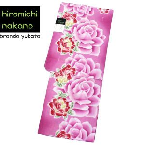 ブランド 浴衣 hiromichinakano【ナカノヒロミチ/ピンク地にバラ 11625】レディース ゆかた お仕立て上がり|kimono-japan