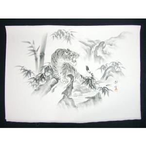 正絹額裏 白地墨絵 手描き 虎と滝/男女両用|kimono-kyoto