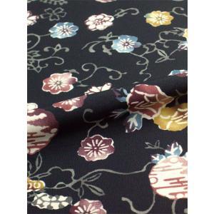 着物風和柄はぎれ 紅型調柄 黒 38センチ×1メートル (送料無料/詳しくは商品情報迄)|kimono-kyoto