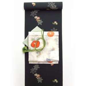 洗える着物 小紋 楓柄 黒 反物 kimono-kyoto