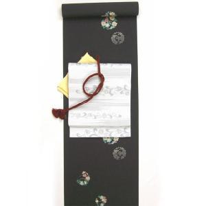 洗える着物 小紋 花丸柄 黒 反物 kimono-kyoto