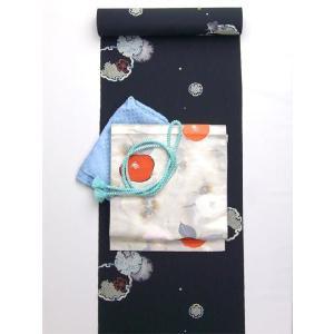 洗える着物 小紋 雪輪とちどり柄 黒 反物 kimono-kyoto