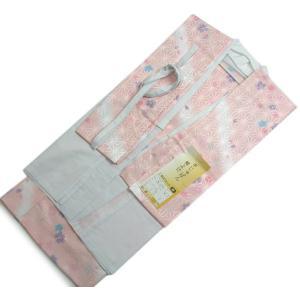 【お仕立て上がり洗える二部式長襦袢】 薄ピンク地麻の葉地模様にしっとり花模様|kimono-kyoukomati