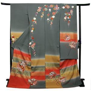 未仕立て正絹中振袖 グレー地吉祥花枝垂れに古典糸巻き模様|kimono-kyoukomati