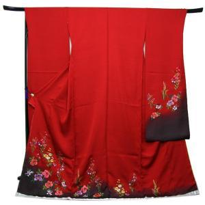 未仕立て正絹中振袖 赤地濃グレーぼかしに吉祥華刺繍|kimono-kyoukomati