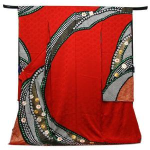 未仕立て正絹中振袖 赤地花菱地紋に疋田鹿の子絞り重ね模様|kimono-kyoukomati