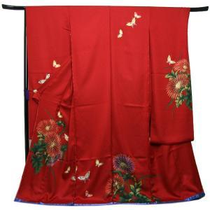 未仕立て正絹中振袖 赤地艶やかな洋花模様に蝶|kimono-kyoukomati