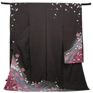 未仕立て正絹中振袖 濃こげ茶ラメ地パステル絞り花流水模様|kimono-kyoukomati