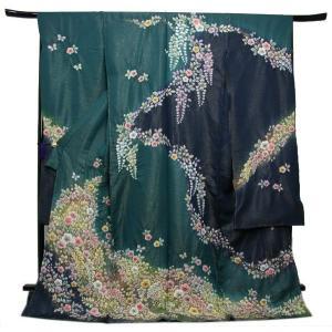 未仕立て正絹中振袖 ラメグリーン地濃紺染め分けに吉祥絞り花模様|kimono-kyoukomati