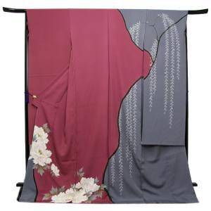 未仕立て正絹中振袖 ピンク紫・グレー染め分けに粋な牡丹模様|kimono-kyoukomati