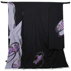 未仕立て正絹中振袖 濃紺・薄紫染め分け地に粋な丸紋に牡丹|kimono-kyoukomati