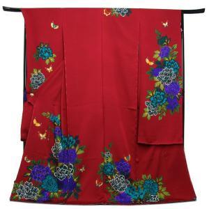 未仕立て正絹中振袖 えんじ赤地粋なブルー系牡丹に蝶々|kimono-kyoukomati