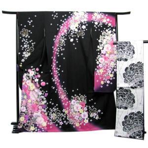 振袖 セット正絹 着物と袋帯の2点セット 黒地小花と蝶の着物と白地牡丹の帯 kimono-kyoukomati