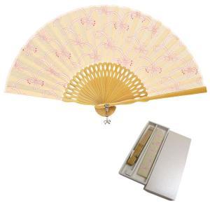 扇子 女性用 レディース 扇袋セット ベージュピンクリボン|kimono-kyoukomati