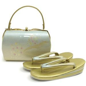 草履 バッグ セット 着物 訪問着 フリーサイズ 水色×ゴールド系ぼかし 桜と流雲柄|kimono-kyoukomati