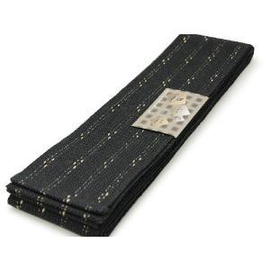 角帯 男性 浴衣帯かく帯 メンズ ゆかた 男物 黒地絣縞柄|kimono-kyoukomati