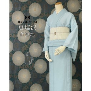 色無地 洗える着物 レディース 女性 仕立上がり ハナエモリブランド 夏塩沢 M Lサイズ 水色 礼装 フォーマル 夏着物 送料無料|kimono-kyoukomati