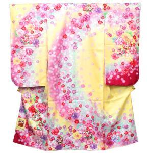 【七五三 着物セット 七歳 女の子 洗える素材】クリームとピンク染分け地桜と鈴柄 四つ身 四ツ身 きもの 7才 長襦袢 半襟 伊達衿|kimono-kyoukomati