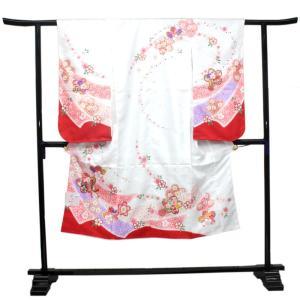 【七五三 着物セット 七歳 女の子 洗える素材】白地熨斗に桜柄七才 四つ身 四ツ身 きもの 7歳 7才 長襦袢 伊達衿|kimono-kyoukomati