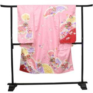 【七五三 着物セット 七歳 女の子 洗える素材】ピンク地御所車と雲取り柄 四つ身 四ツ身 きもの 7歳 7才 長襦袢 伊達衿|kimono-kyoukomati