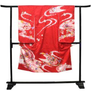【七五三 着物セット 七歳 女の子 洗える素材】赤地水に桜と鼓柄 四つ身 四ツ身 きもの 7歳 7才 長襦袢 伊達衿|kimono-kyoukomati