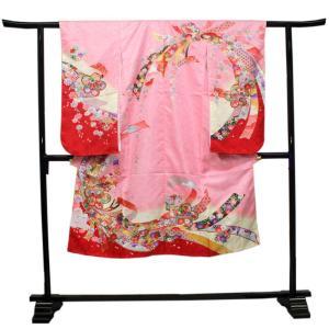 【七五三 着物セット 七歳 女の子 洗える素材】ピンク地熨斗と桜柄 四つ身 四ツ身 きもの 7歳 7才 長襦袢 伊達衿|kimono-kyoukomati