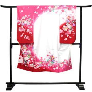 【七五三 着物セット 七歳 女の子 洗える素材】白・ピンク・赤ぼかし地薬玉と四季の花柄 四つ身 四ツ身 きもの 7才 長襦袢 半襟 伊達衿|kimono-kyoukomati