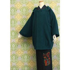 【着物ロングコート 青緑色 ウール 和装 レディース 冬 女性 女物 婦人用 アウター 上着 日本製 防寒 送料無料|kimono-kyoukomati