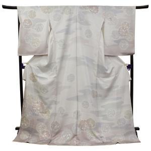 訪問着 仮絵羽 正絹フォーマル着物 袷 渋薄小豆グレー地雲取り雪輪模様未仕立て 単品 和服|kimono-kyoukomati