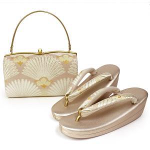 【草履バッグセット フォーマル用 Lサイズ 薄ピンクベージュ地横菊柄 和装 着物 ぞうり バック 女性 送料無料