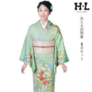 洗える着物 訪問着 アッシュエルブランド 5点セット ピンク紫地流水に吉祥花柄 フリーサイズ 送料無料 セール対象外|kimono-kyoukomati